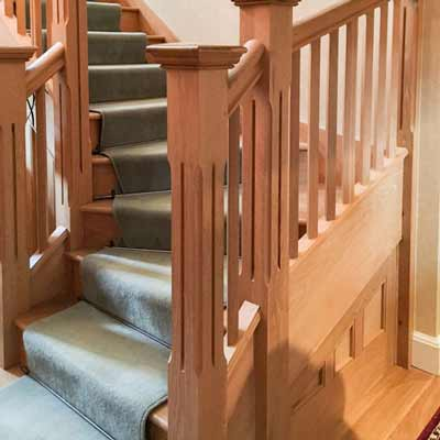 A handcrafted wooden staircase by Henley Joinery